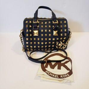 Michael Kors | Grayson navy satchel gold studded